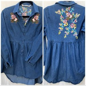 Tops - Denim Embroidered Long Sleeve Shirt